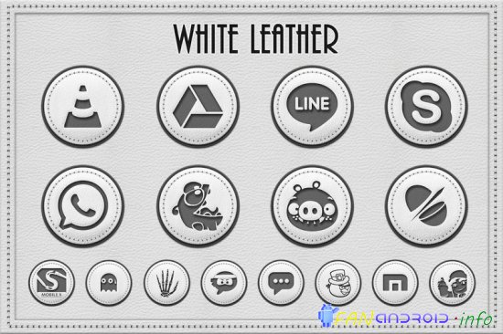 White Leather Icon Pack Theme
